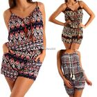 Vintage Sexy Women Boho Sleeveless Shorts Playsuit Beach Party Jumpsuits Fashion