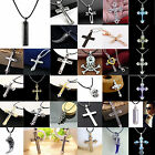 New Gift Unisex's Men Black Silver Stainless Steel Cross Pendant Necklace Chains