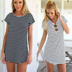 2016 Summer Women Short Sleeve Round Neck Striped Sexy Mini Dress T-Shirt Tops