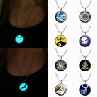 Christmas Luminous Glass Glow in Dark Tile Santa Pendent Necklace Jewelry Gift