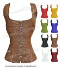 Heavy Duty 18 Double Steel Boned Waist Training Leather Overbust Corset 1215-LE