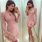 Hot Sexy Women Summer LACE Bodycon Evening Cocktail Party Long Sleeve Mini Dress