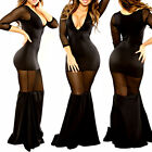 Women's Girl Lace V-Neck Sexy Black 3/4 Sleeve Fish Tails Dress Party Long Slim
