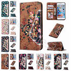 Fr Samsung Galaxy iPhone Floral Flower Magnetic Closure Leather Case Cover+Strap