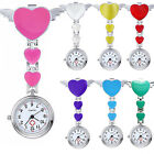 Women's Cute Love Heart Quartz Clip-on Fob Brooch Nurse Pocket Watch Sanwood