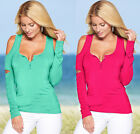 Women Blouse Casual V-Neck Off Shoulder T-Shirt Long Sleeve Solid Stretch Tops