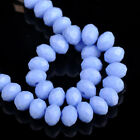 50pc 8mm Glass Crystal Rondelle Faceted Findings Loose Beads Porcelain blue-gray