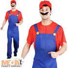 1980s Red Plumber Mens Fancy Dress Super Mario 80s Game Adults Costume Outfit