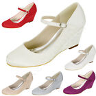 Womens Wedge Satin Wedding Shoes Round Toe Mid Heels Ankle Strappy Pumps Elegant