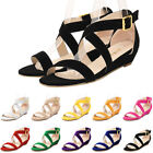 Women's  Peep Toe Flocking Sandals Strappy Wedges Low Heels Ladies Wedding Shoes