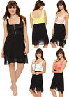 Womens Lace Strappy Mini Dress Floral Zip Sleeveless Lined Bralet Ladies 8-14