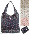 Floral Roses Fold Away Reusable Eco Shopping Bag / Water Resistant Shopper Tote