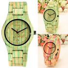 2 Color Fashion Unisex Bamboo Round Shape Dial Quartz Watch Wristwatch DZ88