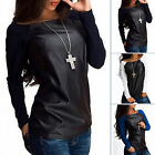 New Womens Ladies Loose Tops Tee Long Sleeve Shirt Blouse Leather Casual T-Shirt
