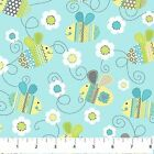 BUNDLE OF LOVE BEES FLOWERS BLUE NORTHCOTT QUILT SEWING FABRIC *Free Oz Post