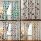 "FLORAL 3"" TAPE TOP PAIR THERMAL BLACKOUT READY MADE CURTAINS BLUE CREAM PINK"