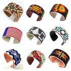 Native American inspired style Beaded Hard Cuff Bracelet Genuine Leather 1.5""