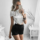 CH Fashion Women Short Sleeve Embroidery Lace Crochet Shirt Casual Top Blouse