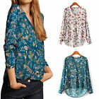 Casual Women Vintage V Neck Chiffon Long Sleeve T-shirt Ladies Floral Blouse Top