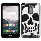 For LG Stylo 2 PLUS MS550 SKULL Hard Hybrid Dual Layer Soft Rubber Case Cover