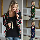 Ladies Floral Print Cardigan Women Irregular Outwear Coat Top Plus Size S-3XL