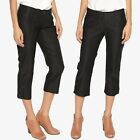TheMogan Women's Button Cuffs Mid Rise Stretch Capri Trousers Cropped Pants