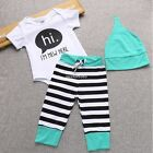 Kids Baby Newborn Infant 3 Pieces Bodysuit Pants Cap Striped Outfit Hot Clothes