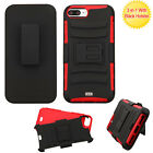 For Apple iPhone 7 & 7 PLUS Combo Holster HYBRID KICKSTAND Rubber Case Cover