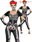 Ladies Day of the Dead Jumpsuit Adults Skeleton Halloween Fancy Dress Costume