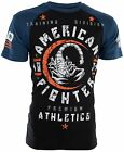 AMERICAN FIGHTER Mens T-Shirt MICHIGAN Athletic BLACK BLUE Biker Gym MMA UFC $40