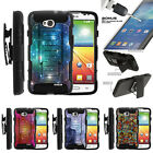 For LG Ultimate 2 Holster Clip Stand Case + Tempered Glass - Galaxy with Specs