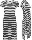 Womens Monochrome Striped Dress Ladies Print Side Slit Short Sleeve Long Top