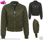 NEW Womens Quilted Bomber Jacket Ladies Padded MA1 Coat Size 8 10 12 14 16