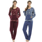 Womens Ladies Warm Fleece Lounge wear Pyjama Set  Bottoms Pjs Long Sleeve