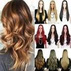 Ombre Clip in 3 4 Wigs 100 Real Heat Resistant Long Hair Half Wig No Fringe W