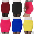 Womens Formal Stretch High Waist Pleated Bodycon Package Hip Skirt Pencil Dress