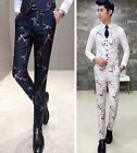 New Men's Unique Jacquard Floral Embroidered Quality Slim Fit Casual Dress Pants