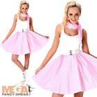 Baby Pink Polka Dot Skirt Ladies Fancy Dress 50s Rock Roll Womens Adult Costume