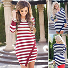 Fashion Autumn Womens Long Sleeve Evening Party Long Tops Slim Casual Mini Dress