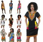 New Women's Traditional African Print Dashiki Short Sleeve Shirt Dress Plus Size