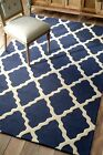 nuLOOM Hand Hooked Homespun Moroccan Trellis Wool Contemporary Blue Area Rug