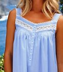 """LG Eileen West Cotton Blue Chambray Strap Ocean Dreams Short 36"""" Night gown"""