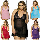 ares sexy lingerie one size/plus size lace mesh halter neck babydoll satin bow