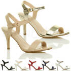 WOMENS LADIES HIGH HEEL BUCKLE STRAPPY BASIC BARELY THERE SANDALS SHOES SIZE