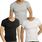 Mens Raiken Ribbed V Neck ( Pack of 3 ) Slim Fit Black Grey White T-Shirt Mens S