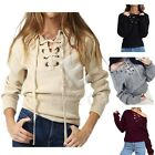 Women Autumn Lace-up Sweater Long Sleeve Knitted Jumper Pullover Sweatshirt