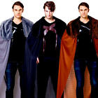 Capes w/ Fur Collar Mens Fancy Dress Fairytale Medieval Adults Costume Accessory