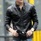 US XS-3XL Mens Stand Collar Zip Up Leather Motorcycle Jacket Slim Casual Coats