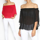 TheMogan Women's Off The Shoulder Blouse Pleated Georgette Ruffle Sheer Top