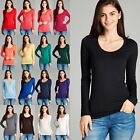 Women Scoop Round Neck Long Sleeve Cotton T-Shirt Soft Stretchy Tee Top 8008